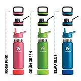 hydro2go  Trinkflasche aus Edelstahl 500 ml / 0.5 Liter - für Kinder, Schule, Sport, Fitness & Outdoor | Thermo Edelstahlflasche BPA-frei + 3 Trinkverschlüsse | 100% Auslaufsichere Thermoskanne