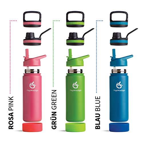 hydro2go  Trinkflasche aus Edelstahl 500 ml / 0.5 Liter - für Kinder, Schule, Sport, Fitness & Outdoor   Thermo Edelstahlflasche BPA-frei + 3 Trinkverschlüsse   100% Auslaufsichere Thermoskanne