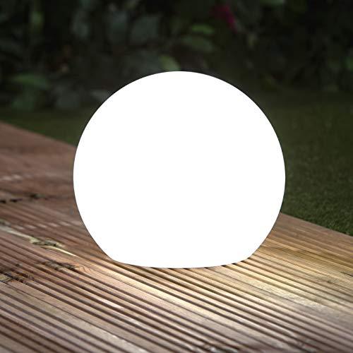 EASYmaxx Solar-Deko-Stein mit Farbwechsel   Moderne Außen-Gartenleuchte mit Fernbedienung   Solar-Kugel-Lampe für In- und Outdoor   Wasserfest nach IP67 (Kugel)