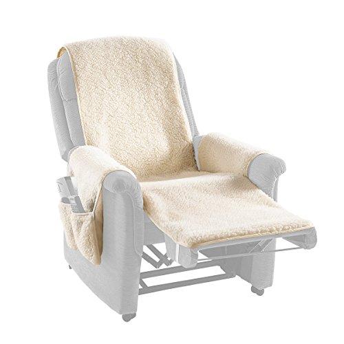 Schurwoll-Sesselschoner , beige, Sesselüberwurf zum Schutz des Originalbezuges