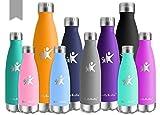 KollyKolla Vakuum Isolierte Edelstahl Trinkflasche, 750ml BPA Frei Wasserflasche Auslaufsicher, Thermosflasche für Sport, Outdoor, Fitness, Kinder, Schule, Kleinkinder, Kindergarten (Grau)