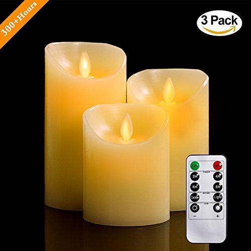 LED Kerzen, 10,2/12,7/15,2 cm Set aus 3 Echtwachs flammenlose Kerzen Säulen nicht Plastik mit realistischen tanzenden LED Flammen und 10-Tasten Fernbedienung mit 2/4/6/8-Stunden Timer Funktion, 300+ Stunden-YIWER (3x1, Elfenbein)
