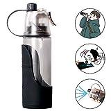 SlowTon Tragbare Trinkflasche für Mensch & Hund, 100% BPA-frei mit abnehmbarem Wassernapf-Wasserspender, kühlender Nebel und Getränk 3 in 1 für Outdoor-Camping, Spray-Sprühflasche (600ML)