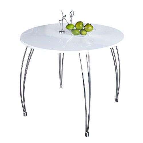 Stilvoller runder Esstisch ARRONDI weiss 90cm Konferenztisch Küchentisch Tisch Hochglanz weiß