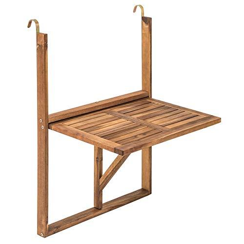 IHD Balkonhängetisch Hängetisch Balkontisch Klapptisch Akazienholz 60x40 cm klappbar