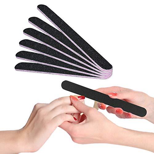 6 Stück 100/180 Schwarz Nagelfeilen Professionelle Nagelfeilen Doppelseitige Nagelfeilen Einweg Nagelfeile, Kern in lila