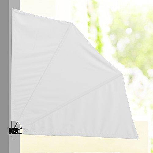 [casa.pro] Balkon - Fächermarkise (Weiß)(160 x 160 cm) Sichtschutz/Seitenmarkise klappbar/Balkonumspannung/Wandklappschirm