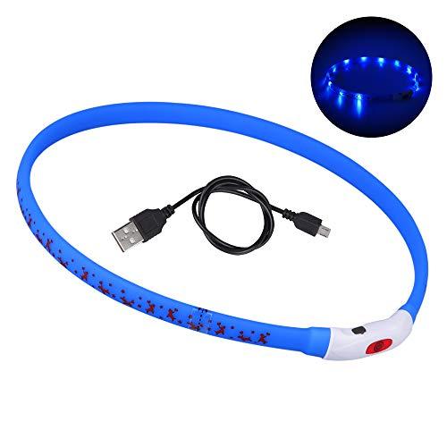 DIAOPROTECT Hunde Leuchthalsband LED, USB Wiederaufladbares Hundehalsband Leuchtend Längenverstellbarer Haustier Sicherheit Kragen für Hunde und Katzen mit Hundemuster,3 Beleuchtungsmodi(70cm) (Blau)