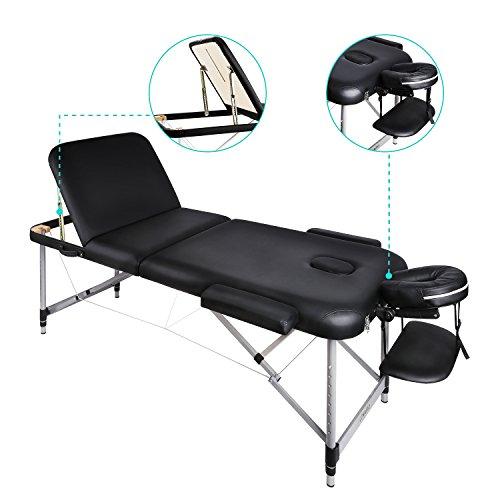 Naipo Massageliegen Massagebank Massagetisch Massage Table Behandlungsliege mit dreifach tragbare leichte Aluminium Füßen und Transport Koffer (leicht 14.5kg, belastbar bis 250kg)