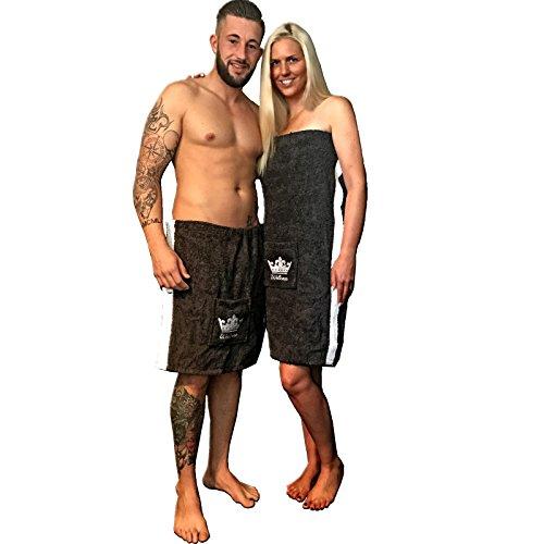 Sauna Kilt Saunakilt von JEMIDI Baumwolle Frottee Sarong Herren Anthrazit Grau mit Stickerei 100% Baumwolle Saunakilt Saunasarong Saunatuch Anthrazit/ Weiß Männer