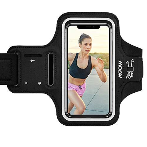 Mpow Sportarmband Handy für iPhone XS Max/XR/ 8 Plus/ 7 Plus Samsung S10 S9 S8【Bis zu 6, 5 Zoll】, Schweißfest Sportarmband mit Reflektivband, Kopfhörer-Slot Key Slot, für Jogging, Radfahren