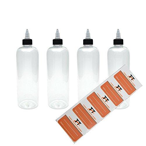 TORG TRADING 4 x 500ml Kunststoffflaschen aus PET mit Twist-Off Deckel - Leerflasche - Liquid Flasche für E-Liquid - Tropfflaschen,Dosierflaschen,Dropper Flaschen,Quetschflaschen inkl. 5 Etiketten
