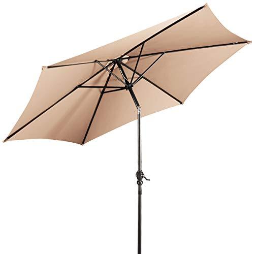 DREAMADE Sonnenschirm neigbar, Sonnenschirm mit Kurbel, Faltbarer Gartenschirm/Terrassenschirm/Kurbelschirm/Strandschirm Ampelschirm/Ø 270cm/ UV Schutz/Farbwahl (Beige)