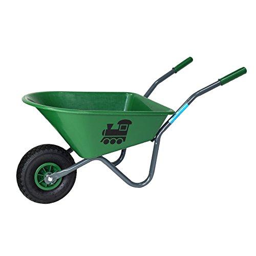 Kinderschubkarre mit Motiv Schiebkarre Metallschubkarre Gartenkarre (Grün)