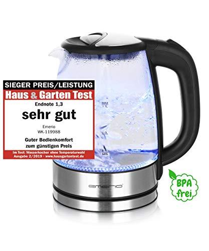 Emerio WK-119988 Glas Wasserkocher,1.7 Liter, 2200 Watt, LED Innenbeleuchtung, 360° Basis, 1.7 liters, Schwarz, Edelstahl
