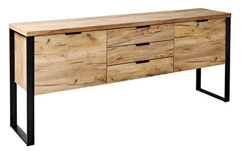 Amazon Marke -Movian Ems - Sideboard mit 2 Türen und 3 Schubladen, 180x39,5x76,2cm, Kerneiche-Effekt