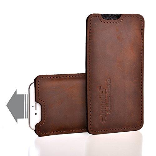 Almwild Hülle, Tasche passend für Apple iPhone 11 aus echtem Rinds- Leder. In Braun. Handyhülle in Bayern handgefertigt. Modell Sattlerschorsch
