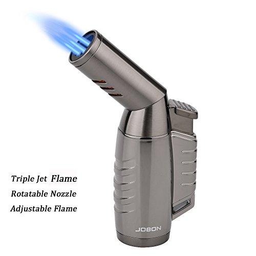 Jet Feuerzeug, LAZU ZB-578 Sturmfeuerzeug Einstellbare Düse 3 Turbo Flamme-Feuerzeug, Pfeifenfeuerzeug, Zigarren Feuerzeuge, Gasfeuerzeug mit Geschenkbox (Verkauft Ohne Gas,Schwarz)