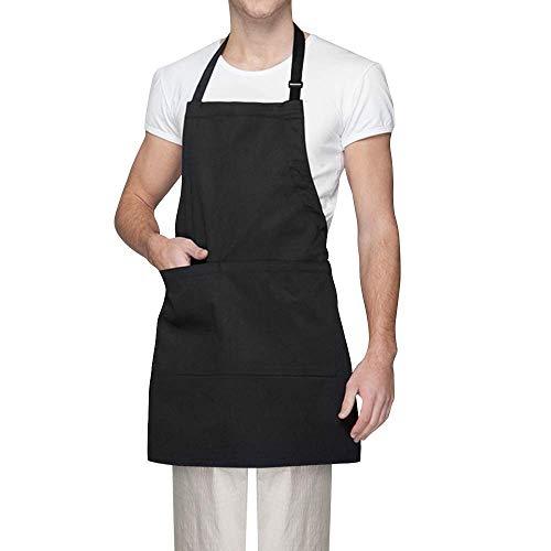 Vegena Kochschürze, Küchenschürze Latzschürze Grillschürze Backschürze Wasserdicht Schürze mit 2 Taschen Verstellbarem Nackenband für Frauen Männer Chef (Schwarz)