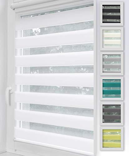 Home-Vision Duo Rollo Klemmfix, Doppelrollo ohne Bohren, Rollos für Fenster & Klemmträger (Weiß, B55cm x H150cm)