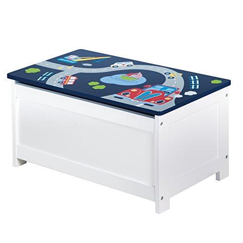 roba Spielzeug-Truhe 'Rennfahrer', Sitz-& Aufbewahrungs-Truhe fürs Kinderzimmer, Truhenbank Auto blau
