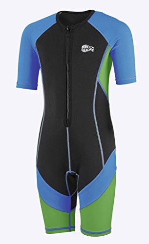 Beco Jungen Sealife Kinder Schwimmanzug, Neoprenanzug, Shorty mit UV Schutz, blau/Grün, 152