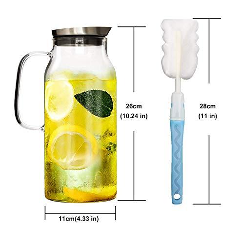 GOLDPOOL Edelstahldeckel Wasserkrug 2 Liter aus Borosilikatglas Wasserkrug mit Edelstahl Deckel Karaffe Glaskanne Zylindrisch Glaskaraffe Ausgestattet mit Einer Reinigungsbürste