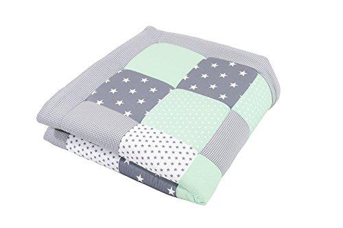 ULLENBOOM  Baby Krabbeldecke Mint Grau (120x120 cm Baby Kuscheldecke, ideal als Laufgittereinlage, Spieldecke, Motiv: Punkte, Sterne)
