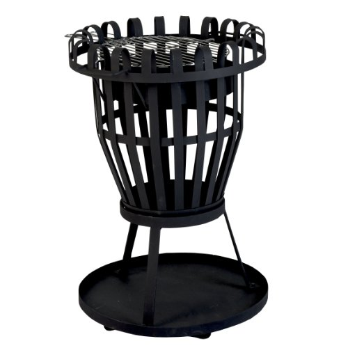 Kamino-Flam Feuerkorb Nike - Feuerstelle für Garten und Terrasse aus Gusseisen - Feuerschale mit Grillrost schwarz - Gartenkamin rund - Dreibein-Terrassenofen mit Grill & Ascheschalepulverbeschichtet
