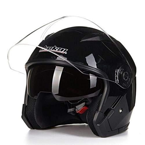 ZHIXX MALL Klapphelm Integralhelm ,Blendung Vermeiden Motorradhelm Roller Sturz Helm - Double Lens Helm (Schwarz, XL)