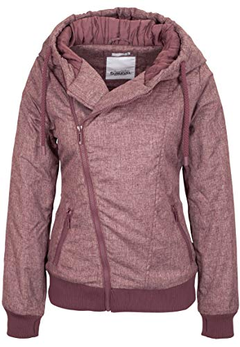 Sublevel Damen Winterjacke mit Kapuze im Melange Look Dark-Rose L