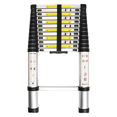 WolfWise 3,8M EN131 Teleskopleiter, Rutschfester Klappleiter Stehleiter Mehrzweckleiter aus hochwertiges Aluminium, 150 kg/ 330 Pfund Belastbarkeit, Schwarz