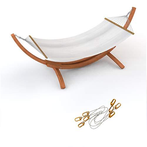Outdoor Hängematte im Set mit Sicherung und Gestell Mauritius 310 cm braun | Hängemattengestell Holz aus sibirischer Lärche wetterfest | Stabhängematte wollweiß aus Baumwolle