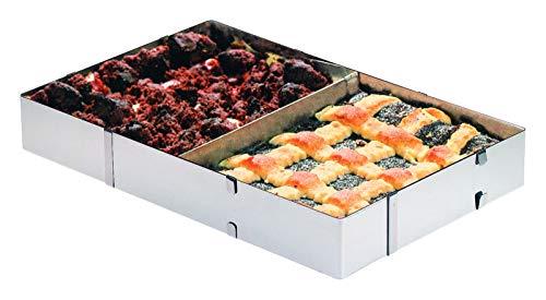 Westmark Kuchen-/Pizzarahmen mit Teiler, Länge und Breite verstellbar, Rostfreier Edelstahl, Silber, 31322260