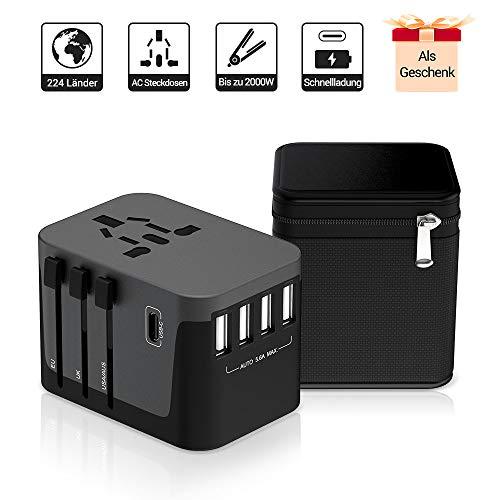 Reiseadapter MustWin Universal Reisestecker 5,6A Travel Adapter Weltweit mit 4 USB +Type C +AC Steckdosen +Doppelsicherung +Tasche für Internationale 224+ Länder Europa UK USA Austalien China USW