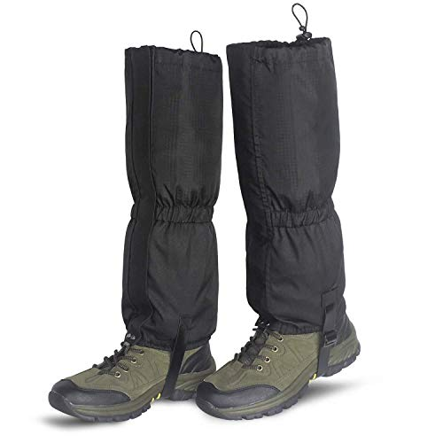 Unigear Outdoor Gamaschen, wasserdichte Einstellbare Gamaschen Atmungsaktive Beinschutz Gaiter für Outdoor-Hosen zum Wandern, Klettern,Trekking, Schneewandern und Jagd 1 Paar MEHRWEG (L-schwarz)