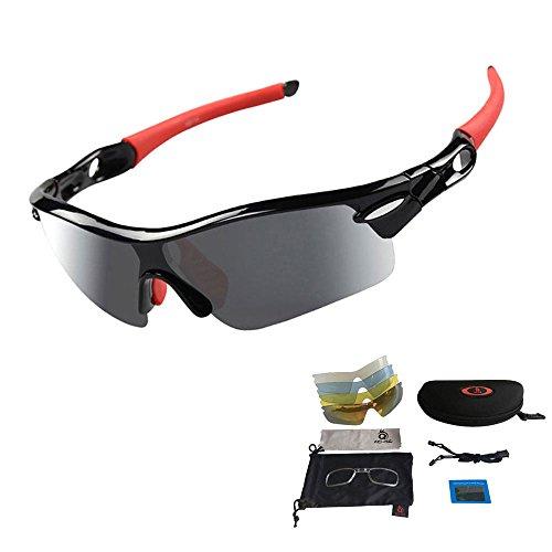 Unisex Radbrille Sportbrille Sonnenbrille, UV-Schutz, 5 Wechselgläser inkl. Schwarze polarisierte Linse, für Outdooraktivitäten wie Radfahren Laufen Klettern usw. (Rot)