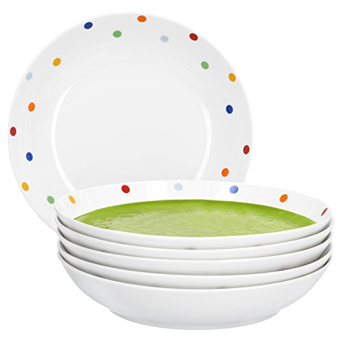 Van Well Porzellan 6er Geschirr-Set Serie Capri | weiß mit Dekor | Artikel wählbar, Service Serie Capri:Suppenteller 20.5cm