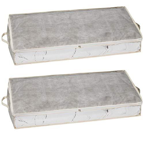 2er Set Unterbettkommode Aufbewahrungstasche aus Stoff für Bettdecken, Kissen, Etc. - Aufbewahrungsbox, Unterbettbox, Betttasche groß, Bett Stauraum (100 x 45 x 15 cm) (grau/Weiss, 2)