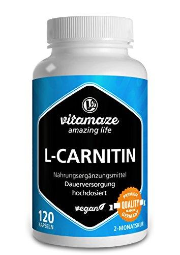 L-Carnitin 680 mg rein pro Tag Fatburner VEGAN 120 Kapseln für 2 Monate Qualitätsprodukt-Made-in-Germany ohne Trennmittel Magnesiumstearat, 30 Tage kostenlose Rücknahme!