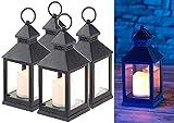 Lunartec LED-Laterne Garten: 4er Pack Laterne mit flackernder LED-Kerze und Timer, Batteriebetrieb (Laterne mit Timerfunktion)
