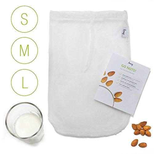 Amazy Nussmilchbeutel inkl. Beileger mit Rezeptideen und Anwendungstipps – Das vielseitige Passiertuch eignet sich ideal für die Zubereitung von Nussmilch, Frucht- und Gemüsesäften und Smoothies (30 x 30 cm | 12' x 12')