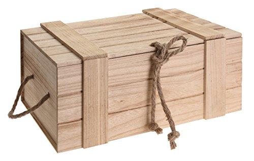 Holzkiste Kiste Schatzkiste Schatztruhe Holzkasten Holz braun Truhe mit Deckel (H 15 x B 36 x T 26 cm)