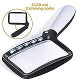Kaome 5 LED Lupe mit Licht 2 Modi Dimmbare, Faltbare Leselupe, 2X Vergrößerung Handlupe für Senioren und Kinder, Bücher, Zeitungen, Landkarten, Münzen, Schmuck, Hobbies