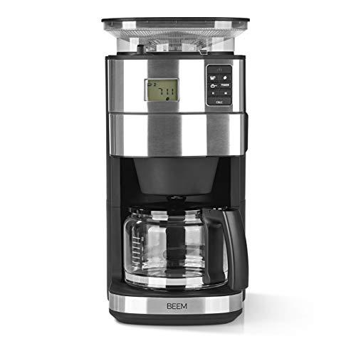 BEEM FRESH-AROMA-PERFECT II Filterkaffeemaschine mit Mahlwerk - Glas | Edelstahl | 1,25 l Glaskanne | 24-Stunden-Timer | 1000 W | Präzisions-Kegelmahlwerk (Ohne intelligenter Wasserzufuhr)