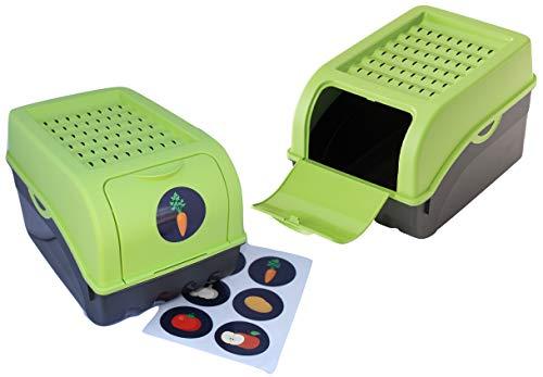 2 x Vorratsdose für Kartoffeln, Gemüse, Obst, Zwiebeln, Aufbewahrungsbox, Kunststoff, Volumen von 7,7 Liter (Set 2 Boxen) (Grün)