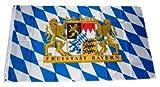 Flaggenking Fahne Flagge Freistaat Bayern Löwe mit Schrift, mehrfarbig, 150 x 90 x 1 cm, 16990