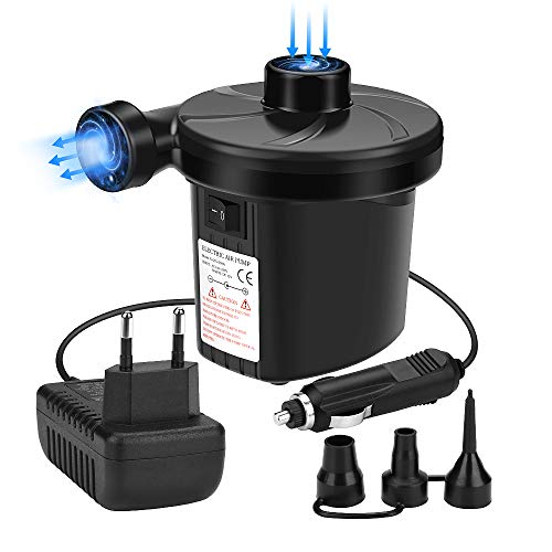 Awroutdoor Elektrische Luftpumpe, 2 in 1 Elektropumpe Power Pump mit 3 Luftdüse für aufblasbare Matratze, Kissen, Bett, Boot