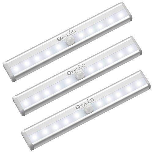 OxyLED Bewegungssensor Schrank Lichter, Kabinett Licht, DIY Stick auf überall Wireless 10 LED-Lichtstrahl, sichere Lichter mit Magnetstreifen für Garderoben-Treppe (3 Satz, weißes Licht, Batterie betrieben)