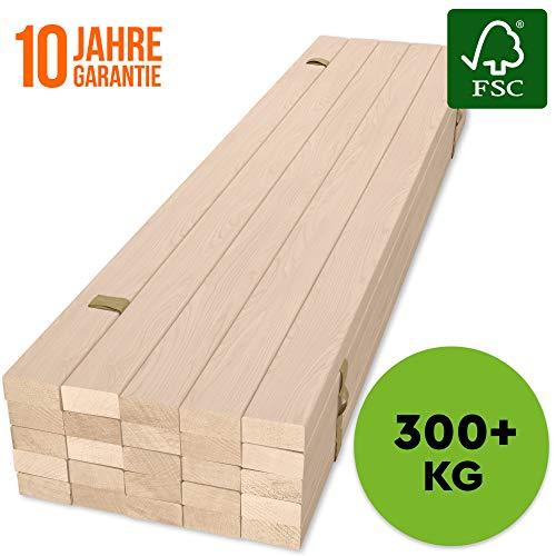 HansaBirke Rollrost 160x200cm - 300 kg 25 Leisten - Hochwertiger Extra starker Rollattenrost aus echtem Birkenholz - FSC Lattenrost unbehandelt - Lattenrollrost Premium